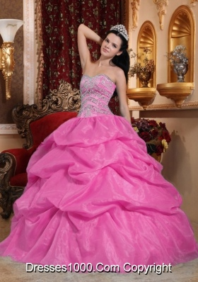 Rose Pink Ball Gown Sweetheart Quinceanera Dress with  Organza Beading