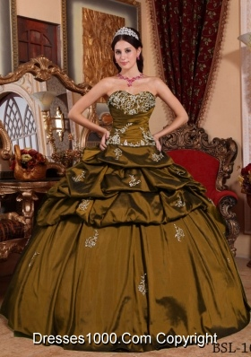 Brand New Puffy Sweetheart Appliques 2014 Quinceanera Dress with Pick-ups