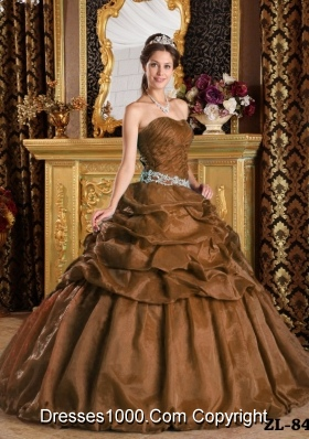 Rust Red Ball Gown Strapless for 2014 Pick-ups Quinceanera Dress with Appliques