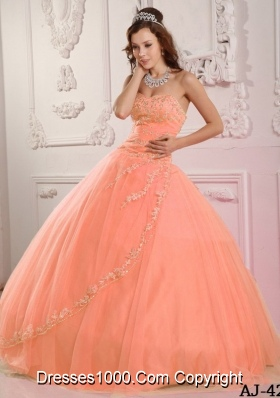 2014 Classical Ball Gown Sweetheart Appliques Pink Quinceanera Dress with Beading