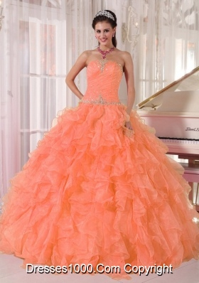 2014 Lovely Strapless Beading and Ruffles Dresses For Quinceaneras with Ball Gown