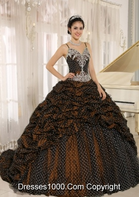 2014 Special Fabric Pick-ups Spaghetti Straps Quinceanera Gowns with Appliques