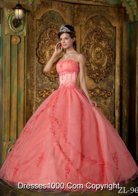 2014 Watermelon Ball Gown Strapless Appliques Dresses Quinceanera
