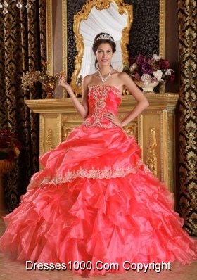 Ball Gown Strapless Appliques and Ruffles 2014 New Style Pick-ups Quinceanera Gowns Dresses