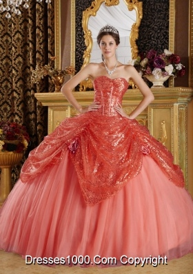 Ball Gown Sweetheart Hand Made Flowers Dress For Quinceanera with Sequined