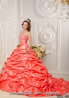 Orange Red Ball Gown Strapless Court Train Dresses For Quinceaneras with Appliques and Pick-ups