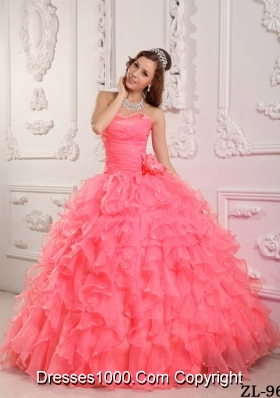 Romantic Ball Gown Sweetheart Beading Ruffles Watermelon Dresses For a Quinceanera