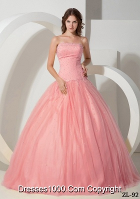 Simple Ball Gown Strapless Tulle Quinceanera Gowns with Beading