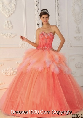 Watermelon A-Line / Princess Sweetheart Beading and Appliques Dresses For a Quince