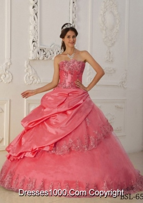 Watermelon A-line Strapless Appliques and Pick-ups Beading Quinceanera Gowns