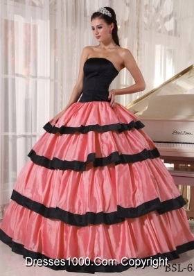 Watermelon and Black Ball Gown Strapless Dresses For a Quince with Ruffled Layers