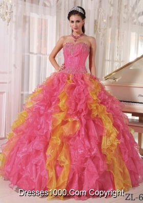 Watermelon and Orange Ball Gown Sweetheart Ruffles Sequins Dresses Of 15 with Long