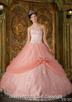 Watermelon Ball Gown Strapless Appliques Tulle Sweet 16 Dresses with Hand Made Flowers