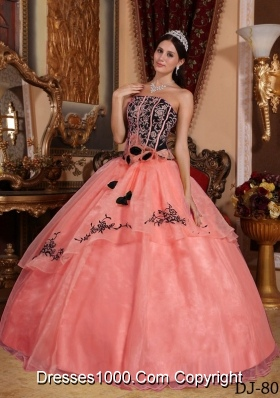 Watermelon Ball Gown Strapless Embroidery Dresses For a Quinceanera with Hand Made Flowers
