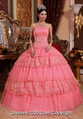 Watermelon Ball Gown Strapless Lace and Appliques Dresses Quinceanera for 2014
