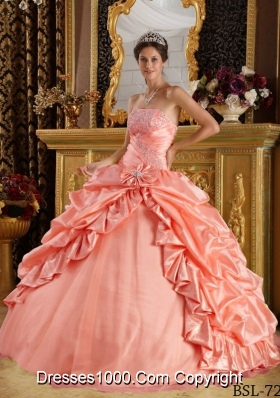 Watermelon Ball Gown Strapless Quinceanera Dress with Pick-ups and Appliques Beading