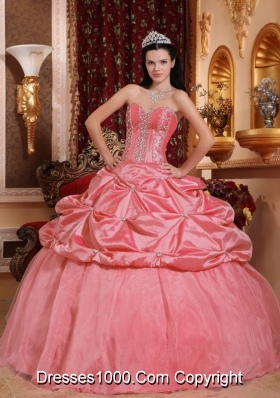Watermelon Ball Gown Sweetheart Beading Quinceanera Dress with Pick-ups