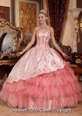 Watermelon Ball Gown Sweetheart Quinceanera Dresses Gowns with Embroidery Ruffled Layers