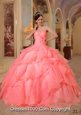 Watermelon Ball Gown Sweetheart Ruffled Layers and Appliques Beading Dress For Quinceaneras