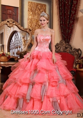 Watermelon Ball Gown Sweetheart Ruffled Layers Sweet Sixteen Quinceanera Dresses with  Appliques