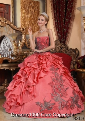 Watermelon Red Ball Gown Strapless Ruffles Taffeta Dresses Quinceanera with Appliques