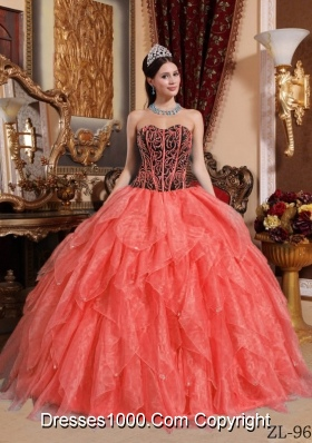 Watermelon Red Ball Gown Sweetheart Embroidery with Beading Quinceanera Dresses Gowns