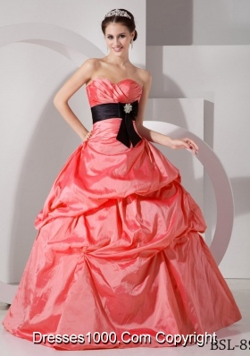 Watermelon Red Sweetheart Sashes Pick-ups 2014 Quinceanera Gowns