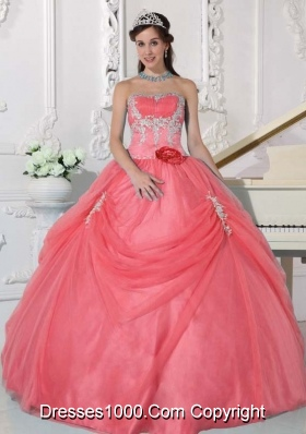 Watermelon Strapless Appliques and Hand Made Flower Quinceanera Dress with Pick-ups