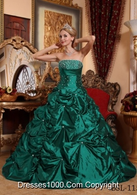 Turquois A-line Strapless Taffeta Sweet 15 Dresses with Beading