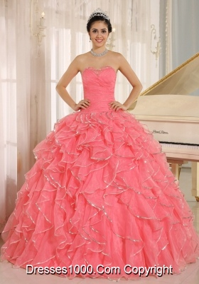 2014 Ruffles and Beading For Watermelon Red Custom Made Quinceanera Dress