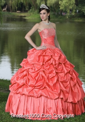Beautiful Watermelon For Clearance Quinceanera Dress With Strapless Pick-ups