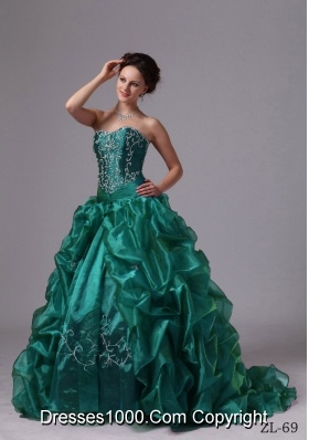 Custom Made Embroidery and Pick-ups Sweep Train For Turquoise Quinceanera Dress