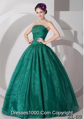 Elegant Sweetheart Tulle Turquoise Sweet 15 Dresses with Beading