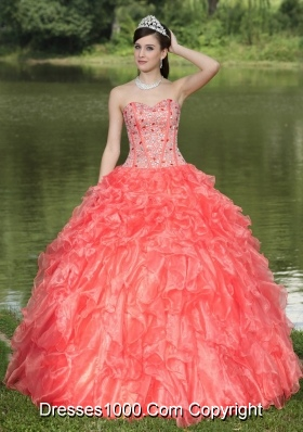 Lovely Sweetheart Beading and Ruffles Quinceanera Dresses with Organza