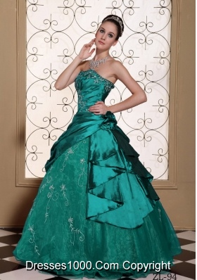 Modest Princess Embroidery Decorate Turquoise Quinceanera Dresses
