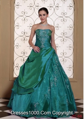 Modest Taffeta and Organza Turquoise Embroidery  Dresses For Quinceaneras