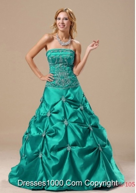 Pick-ups Princess Turquoise Sweet Sixteen Dresses with Embroidery
