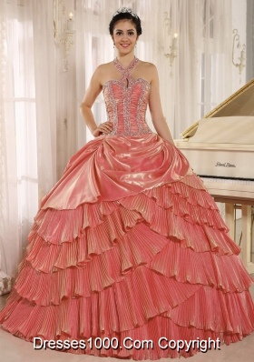 Popular Halter Top Ruffled Layers Beading and Pleats Sweet Sixteen Quinceanera Dresses