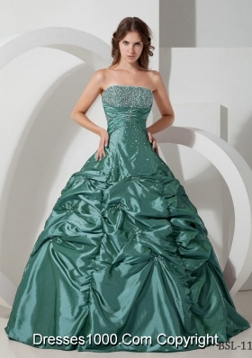 Princess Strapless Taffeta Sweet 15 Dresses with Beading and Pick-ups