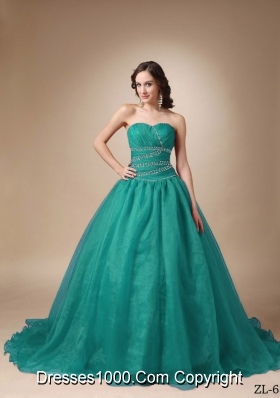 Princess Sweetheart Chapel Train Turquoise Quinceanea Dress with Beading