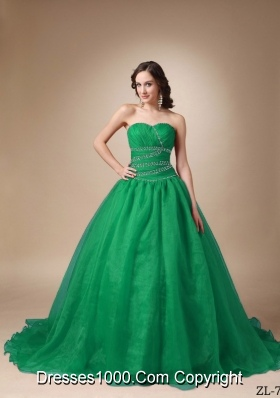 Princess Sweetheart Chapel Train Turquoise Quinceaneras Dresses with Beading