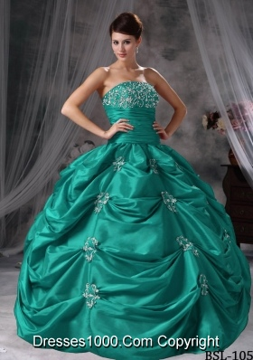 Puffy Strapless Turquoise Quinceaneras Dresses with Appliques and Pick-ups