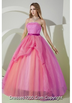 Simple Ball Gown Strapless Beading and Embroidery Dress For Quinceanera