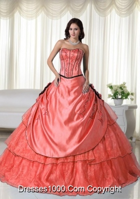 Strapless Organza Beading Quinceanera Dress with Appliques
