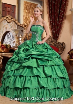 Strapless Taffeta Appliques and Pick-ups Turquoise Sweet 16 Dresses
