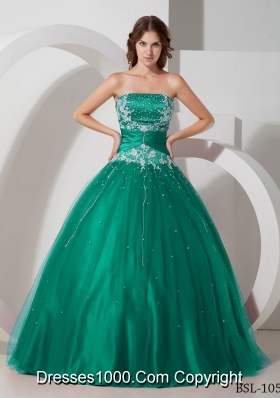 Strapless Tulle Turquoise Quinceanera Dress with Appliques and Beading