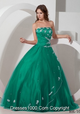 Strapless Turquoise Quinceanera Dresses with Appliques and Beading