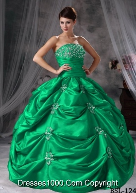 Strapless Turquoise Quinceanera Dresses with Appliques and Pick-ups