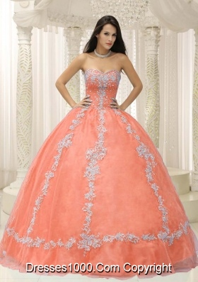 Sweetheart Appliques and Beaded Decorate For 2014 Quinceanera Dress