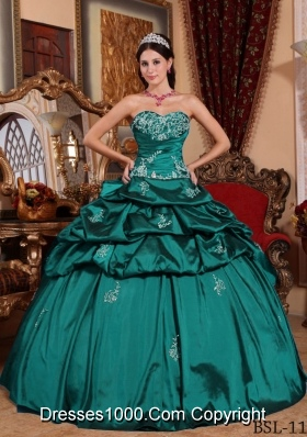 Turquoise Sweetheart Taffeta Appliques and Pick-ups Quinceanera Gown Dresses